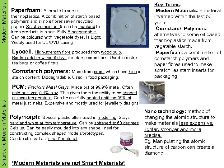 Modern. Materials Smart Materials Paperfoam: Alternate to some thermoplastics. A combination of starch based