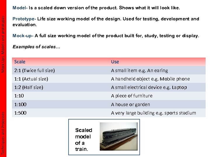 Mock Ups, Models and prototypes Model- Is a scaled down version of the product.
