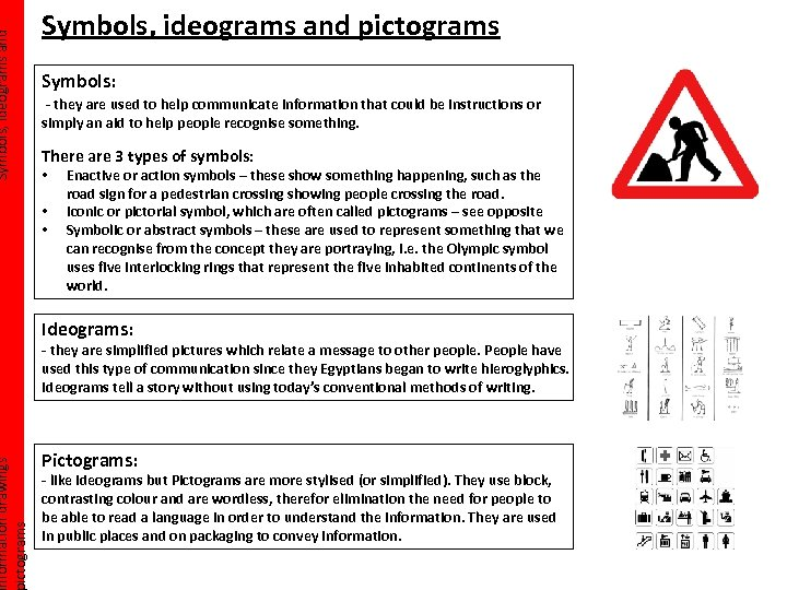 Symbols, ideograms and nformation drawings ictograms Symbols, ideograms and pictograms Symbols: - they are