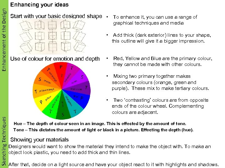 Enhancement of the Design Enhancing your ideas Start with your basic designed shape •