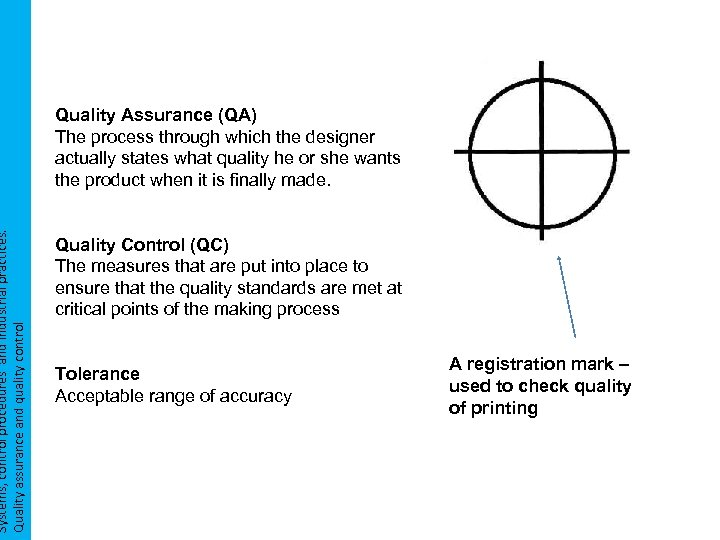 Systems, control procedures and industrial practices. Quality assurance and quality control Quality Assurance (QA)