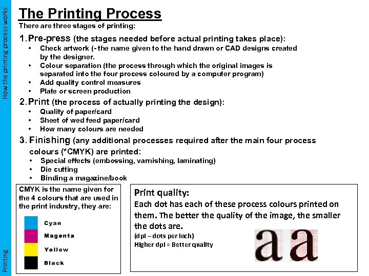 How the printing process works The Printing Process There are three stages of printing: