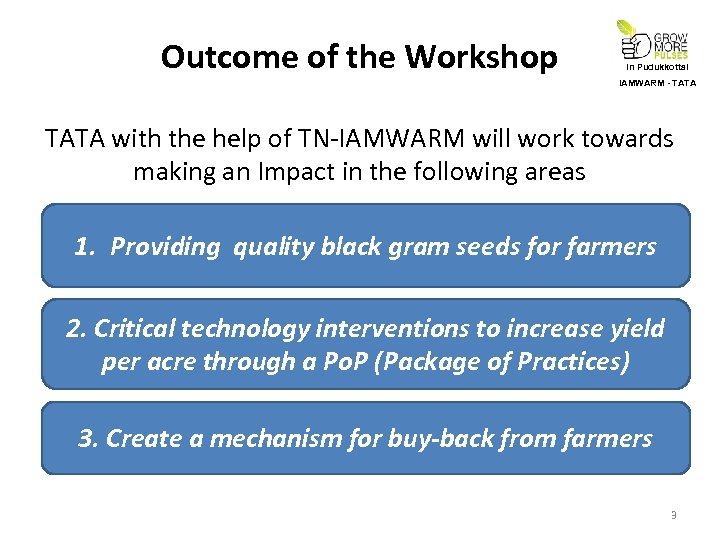 Outcome of the Workshop In Pudukkottai IAMWARM - TATA with the help of TN-IAMWARM