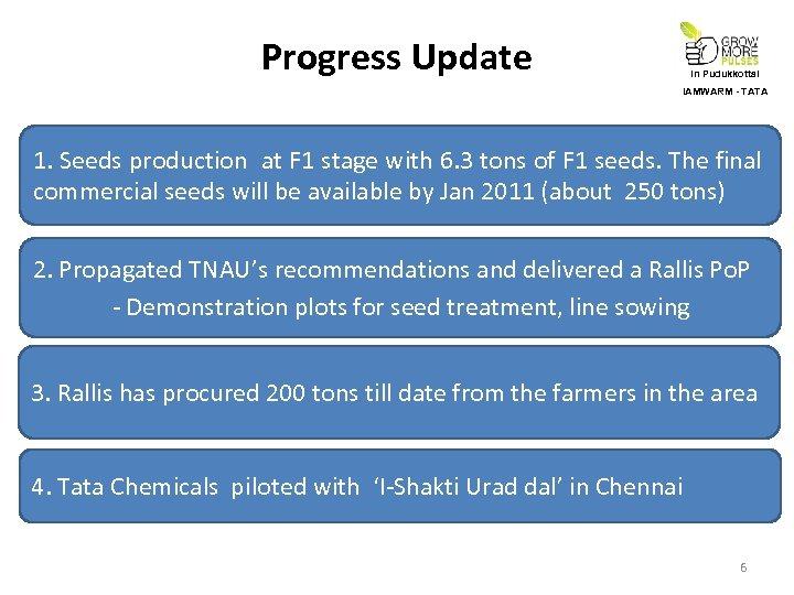 Progress Update In Pudukkottai IAMWARM - TATA 1. Seeds production at F 1 stage