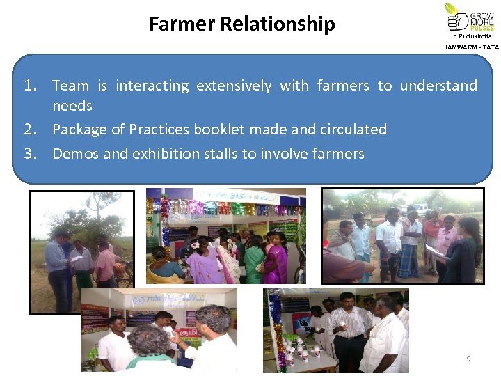 Farmer Relationship In Pudukkottai IAMWARM - TATA 1. Team is interacting extensively with farmers