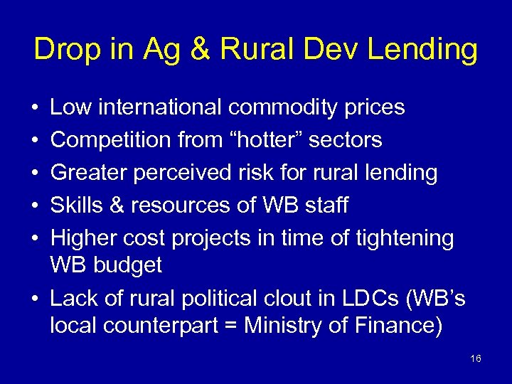 Drop in Ag & Rural Dev Lending • • • Low international commodity prices