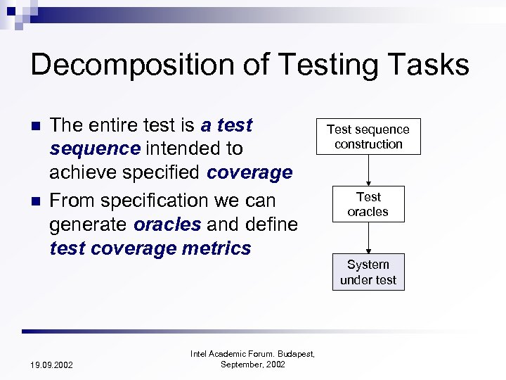Decomposition of Testing Tasks n n The entire test is a test sequence intended