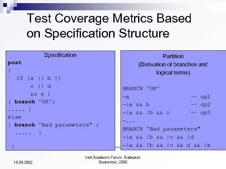 Test Coverage Metrics Based on Specification Structure Specification post { if (a || b