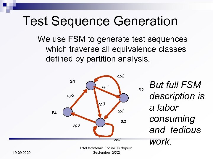 Test Sequence Generation We use FSM to generate test sequences which traverse all equivalence
