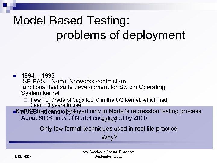 Model Based Testing: problems of deployment n 1994 – 1996 ISP RAS – Nortel