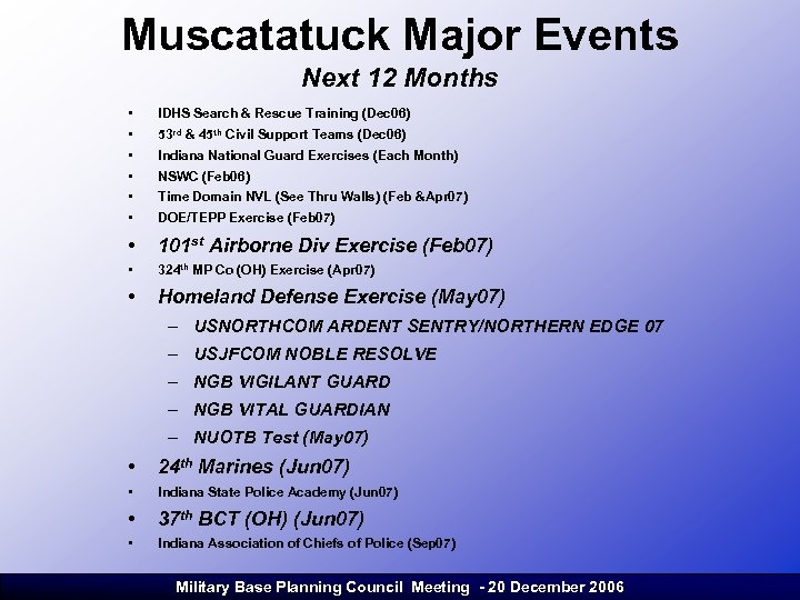 Muscatatuck Major Events Next 12 Months • • • IDHS Search & Rescue Training