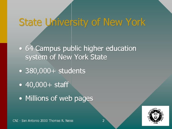 State University of New York • 64 Campus public higher education system of New