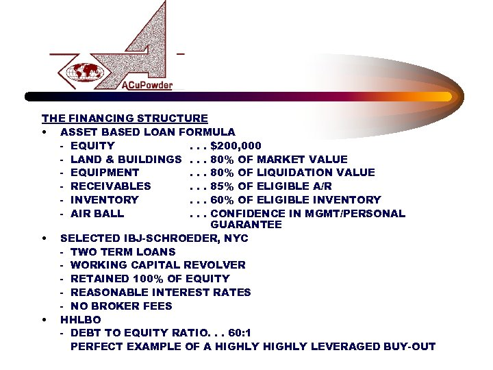 THE FINANCING STRUCTURE • ASSET BASED LOAN FORMULA - EQUITY. . . $200, 000