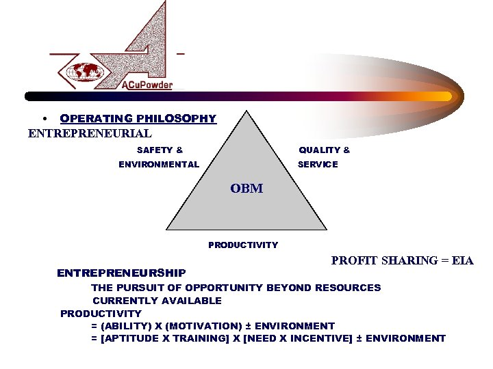 • OPERATING PHILOSOPHY ENTREPRENEURIAL SAFETY & QUALITY & ENVIRONMENTAL SERVICE OBM CCNCO-EQUAL PRIORITIESO-CO-0