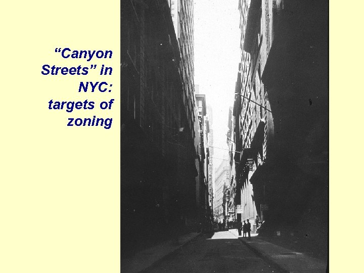 """""""Canyon Streets"""" in NYC: targets of zoning"""