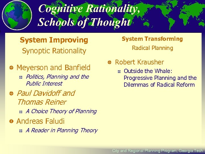 Cognitive Rationality, Schools of Thought System Improving Synoptic Rationality Meyerson and Banfield Politics, Planning