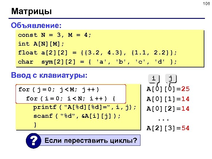 106 Матрицы Объявление: const N = 3, M = 4; int A[N][M]; float a[2][2]