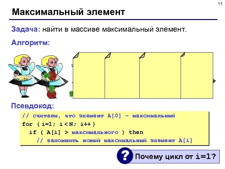 11 Максимальный элемент Задача: найти в массиве максимальный элемент. Алгоритм: Псевдокод: // считаем, что
