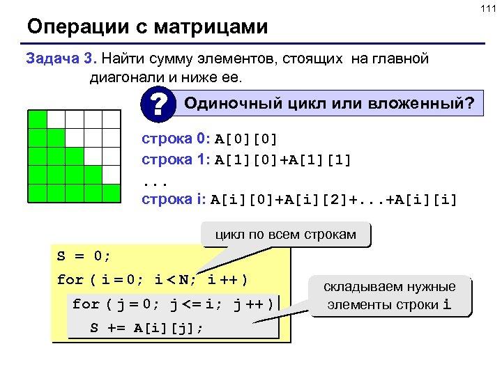 111 Операции с матрицами Задача 3. Найти сумму элементов, стоящих на главной диагонали и