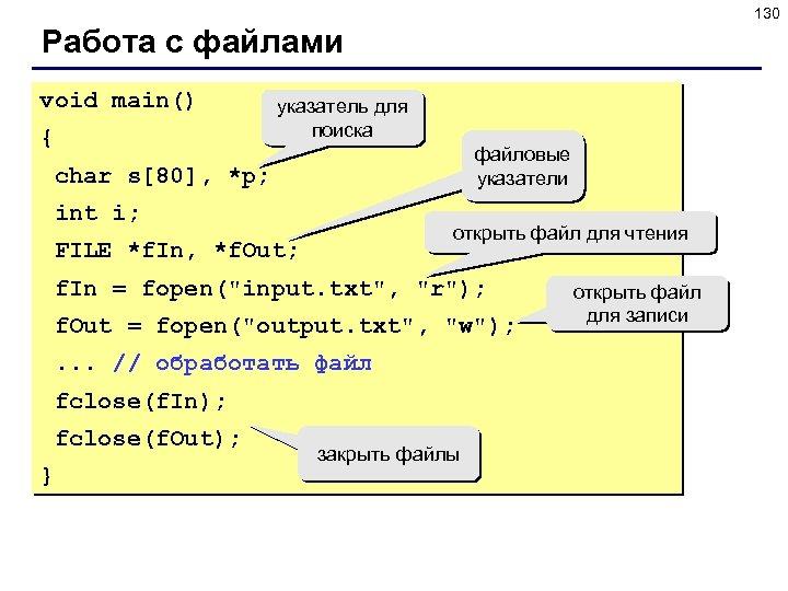 130 Работа с файлами void main() { указатель для поиска файловые указатели char s[80],