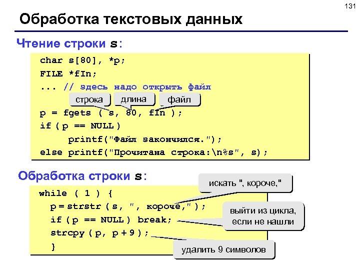 131 Обработка текстовых данных Чтение строки s: char s[80], *p; FILE *f. In; .