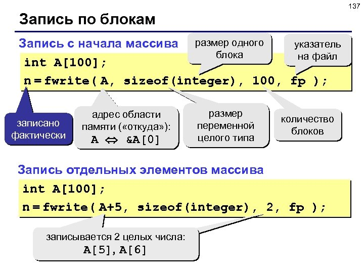 137 Запись по блокам указатель Запись с начала массива размер одного блока на файл