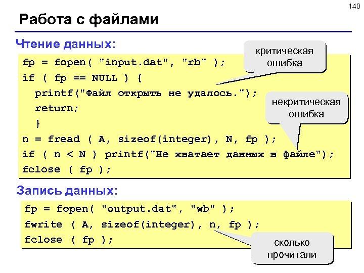 140 Работа с файлами Чтение данных: критическая ошибка fp = fopen(