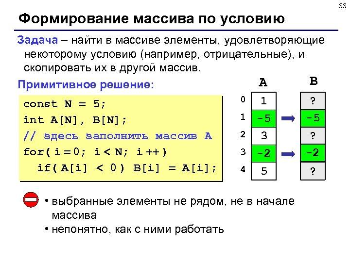33 Формирование массива по условию Задача – найти в массиве элементы, удовлетворяющие некоторому условию