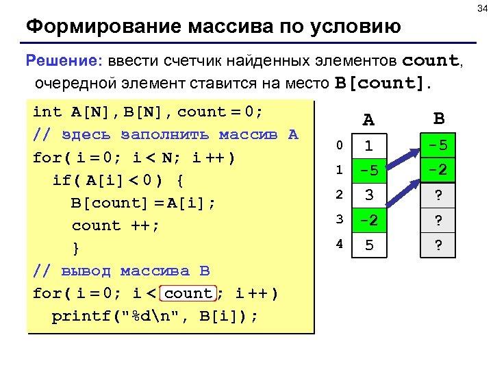34 Формирование массива по условию Решение: ввести счетчик найденных элементов count, очередной элемент ставится