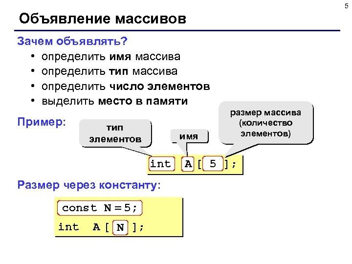 5 Объявление массивов Зачем объявлять? • определить имя массива • определить тип массива •