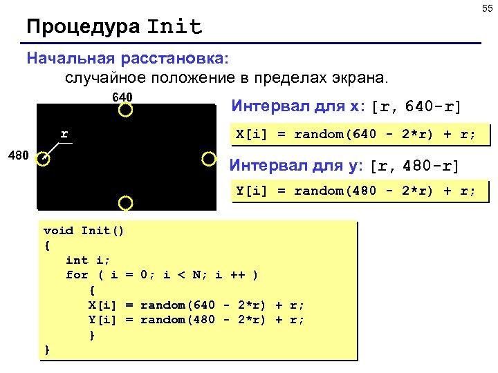 55 Процедура Init Начальная расстановка: случайное положение в пределах экрана. 640 r 480 Интервал