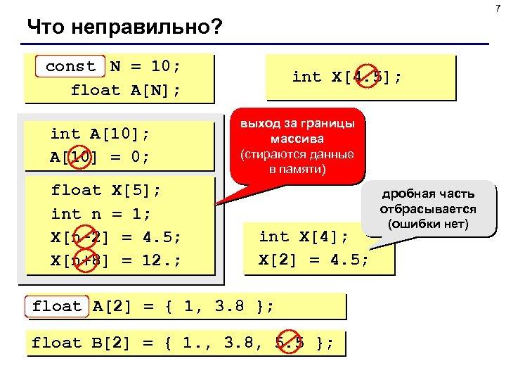 7 Что неправильно? const N = 10; int float A[N]; int A[10]; A[10] =