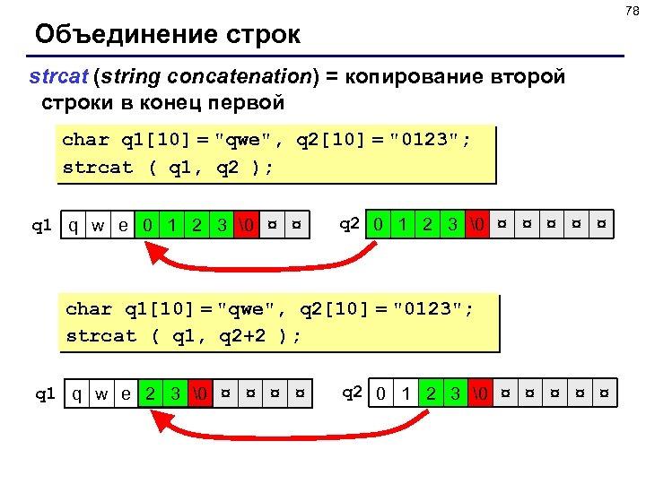 78 Объединение строк strcat (string concatenation) = копирование второй строки в конец первой char