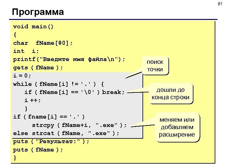 81 Программа void main() { char f. Name[80]; int i; printf(