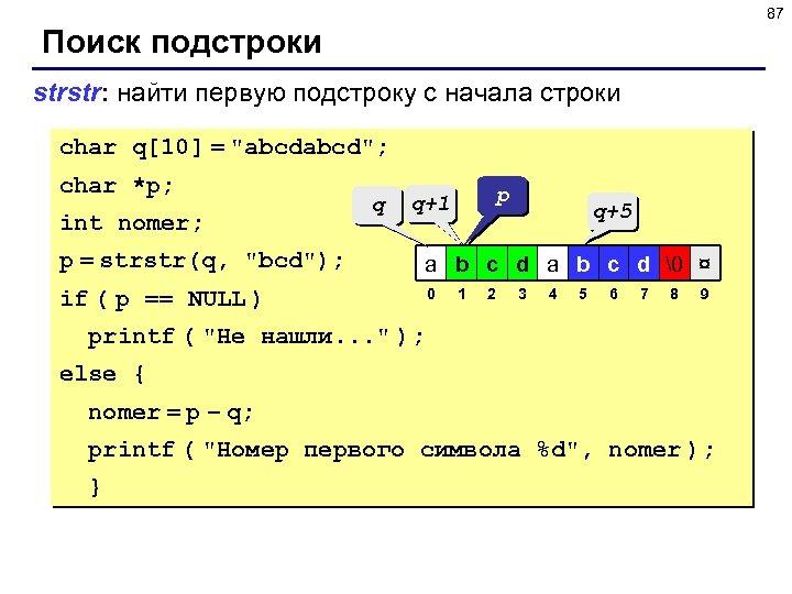87 Поиск подстроки strstr: найти первую подстроку c начала строки char q[10] =