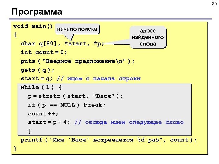 89 Программа void main() начало поиска адрес { найденного char q[80], *start, *p; слова