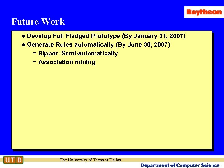 Future Work l Develop Full Fledged Prototype (By January 31, 2007) l Generate Rules