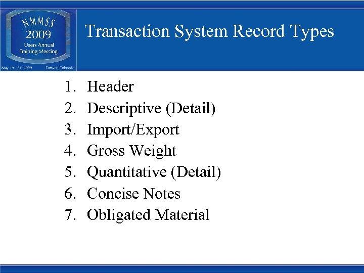Transaction System Record Types 1. 2. 3. 4. 5. 6. 7. Header Descriptive (Detail)