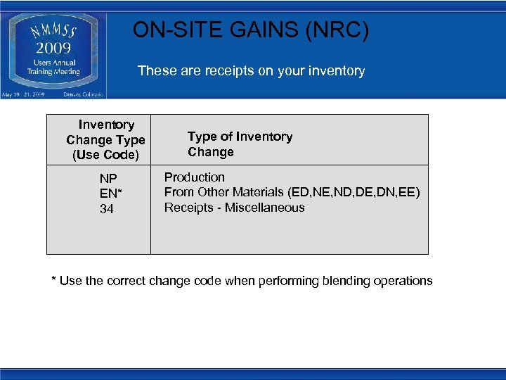 ON-SITE GAINS (NRC) These are receipts on your inventory Inventory Change Type (Use Code)
