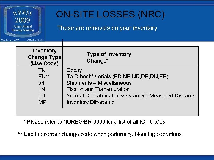 ON-SITE LOSSES (NRC) These are removals on your inventory Inventory Change Type (Use Code)