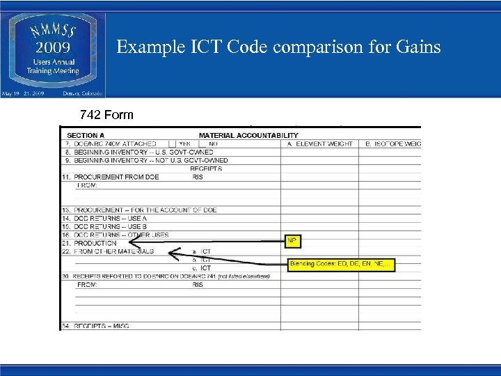 Example ICT Code comparison for Gains 742 Form