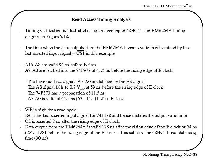 The 68 HC 11 Microcontroller Read Access Timing Analysis - Timing verification is illustrated