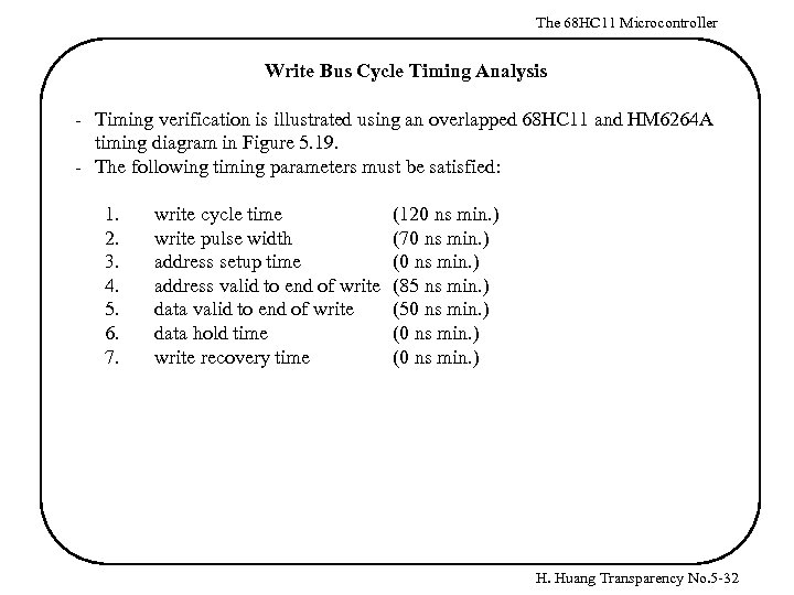 The 68 HC 11 Microcontroller Write Bus Cycle Timing Analysis - Timing verification is