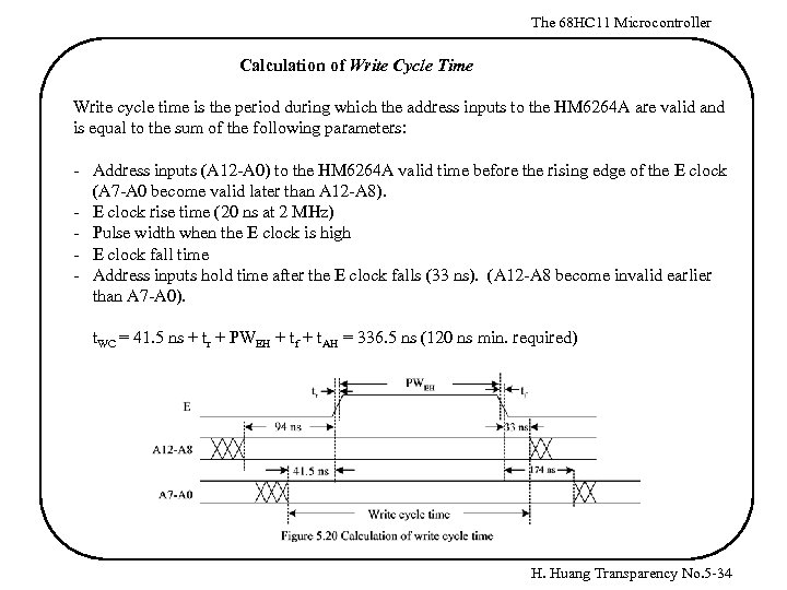 The 68 HC 11 Microcontroller Calculation of Write Cycle Time Write cycle time is