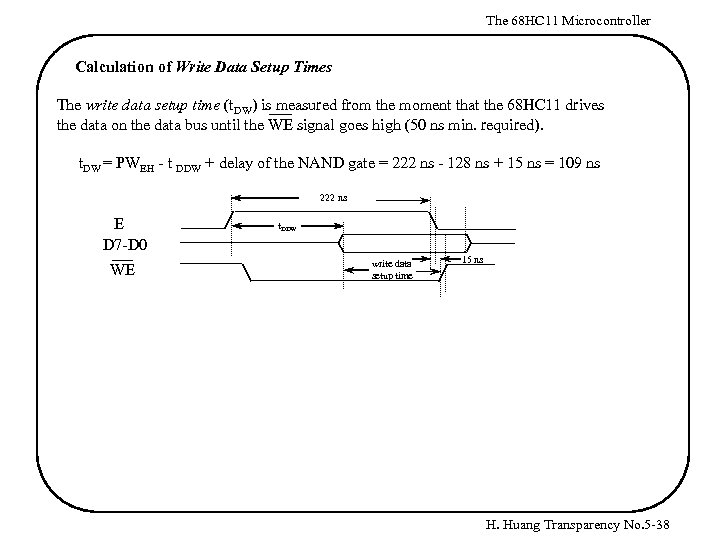 The 68 HC 11 Microcontroller Calculation of Write Data Setup Times The write data