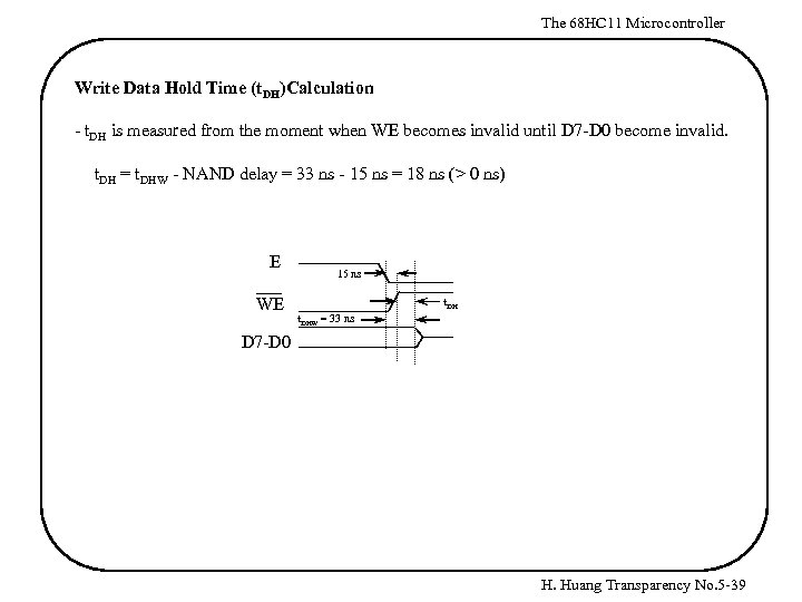 The 68 HC 11 Microcontroller Write Data Hold Time (t. DH)Calculation - t. DH