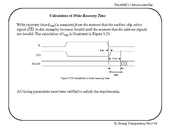 The 68 HC 11 Microcontroller Calculation of Write Recovery Time Write recovery time (t.
