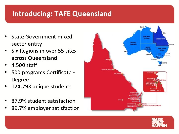 Introducing: TAFE Queensland • State Government mixed sector entity • Six Regions in over