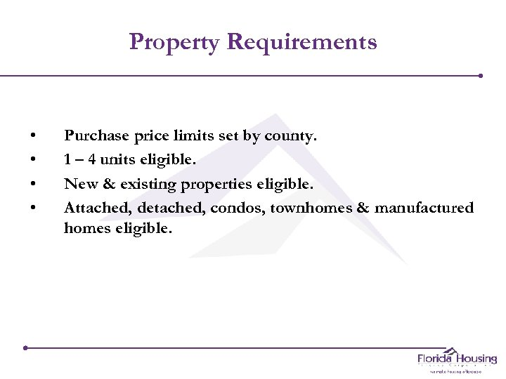 Property Requirements • • Purchase price limits set by county. 1 – 4 units