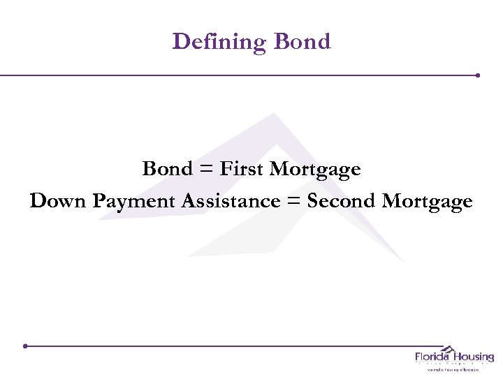 Defining Bond = First Mortgage Down Payment Assistance = Second Mortgage